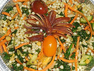 Pearl Couscous with Sauteed Vegetable Salad and Cilantro Vinaigrette