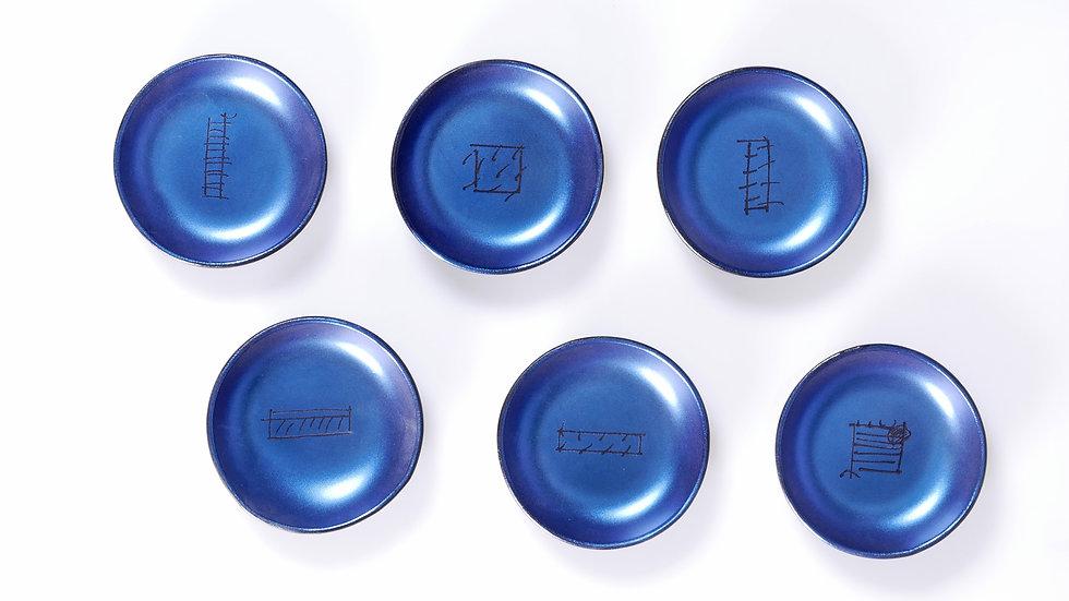6 unidades bol Velvet con grabados, 9cm diametro