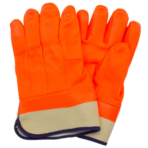 Orange PVC Coated Gloves with Safety Cuff