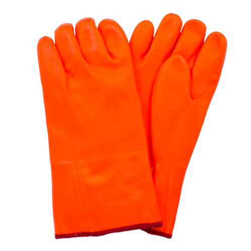 Orange PVC Coated Gloves with Extended Cuff
