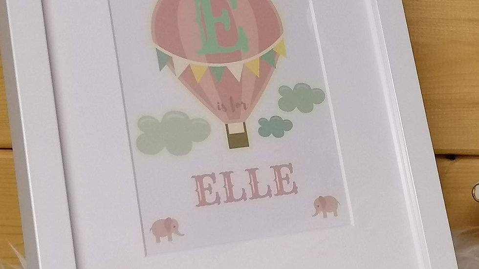 Hot Air Balloon Girls Name Frame
