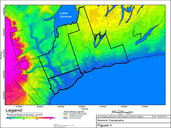 Map of bedrock topography of the Laurentian river system in South-Central Ontario
