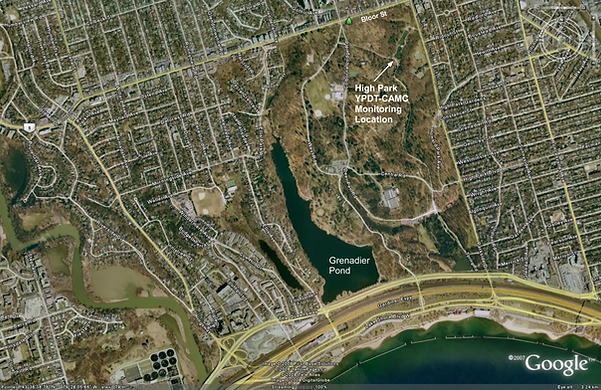 Google maps image showing location of High Park area of Toronto