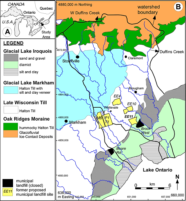 A map of Duffins Creek and Petticoat Creek watersheds showing locations of closed and some historical proposed municipal waste landfills.
