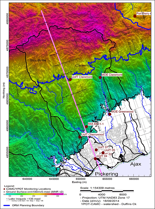 Topographic map of Duffins Creek watershed groundwater monitoring locations.