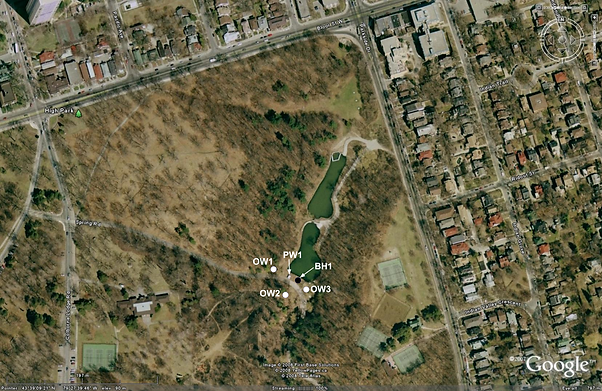 Google maps image showing wells within Northeastern corner of High Park