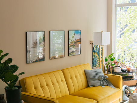 INSIDE OUR COLORFUL, MID-CENTURY LIVING ROOM