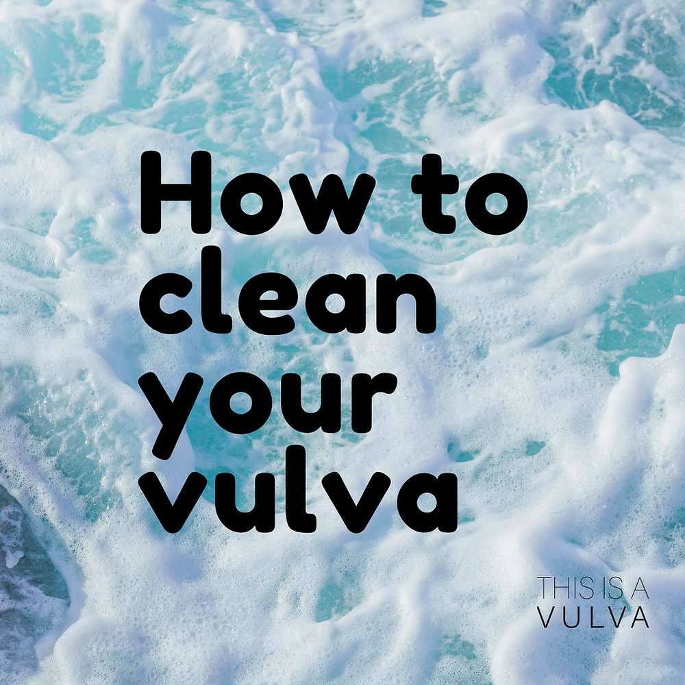 The words 'how to clean your vulva' are in black over an image of frothy waves