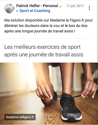 Patrick HELFER Personal Trainer coaching sportif Paris Madame le Figaro