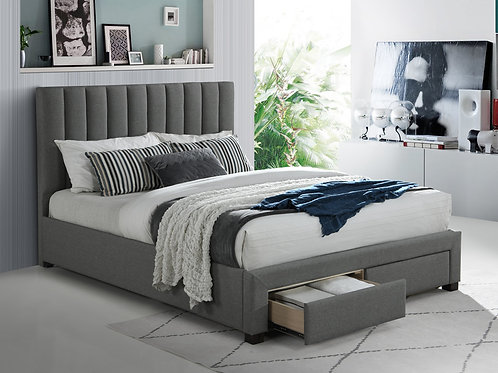Fabric Bed Frame with 2 Drawers