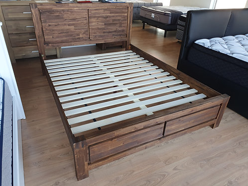 Dark Timber Queen Bed Frame