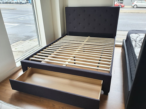 Charcoal Fabric Bed Frame with Large Drawer