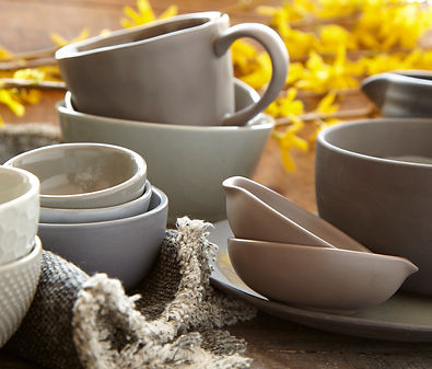 Sample of ceramic bowls available for rental.