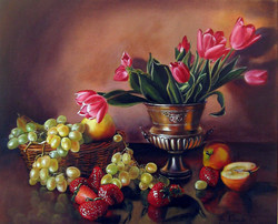 Owoce i tulipany