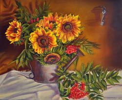 Słoneczniki z jarzębiną