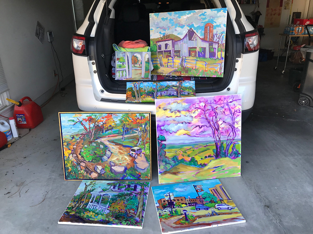 When I got home from this Oct. 2017 painting trip and opened my back hatch door I saw an explosion of paintings.  Yes!  None are finished but great starts.
