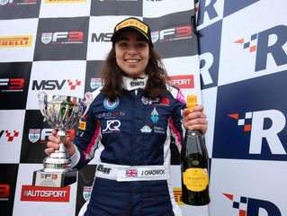 Jamie Chadwick on the Formula 3 Podium at Rockingham Speedway!