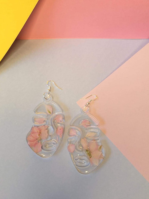 Pink floral abstract face earrings Large