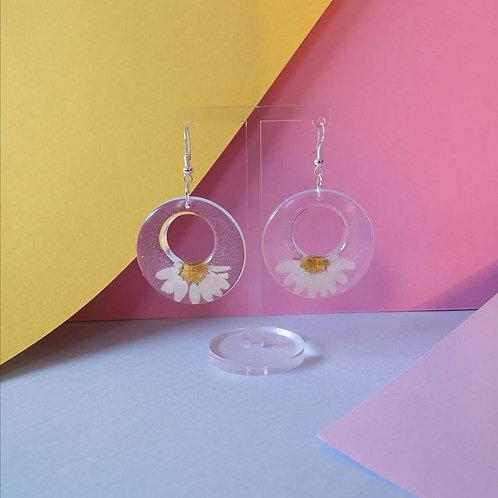 Half Daisy Hoop Earrings