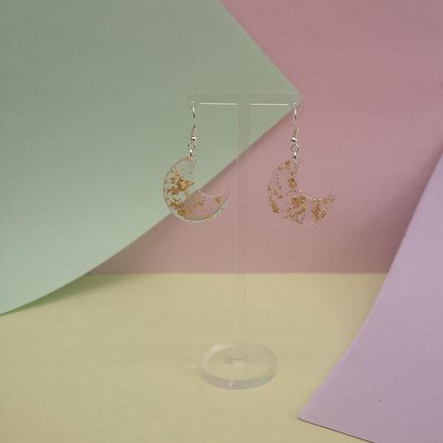 Gold Leaf Moon Shape Dangle Earrings