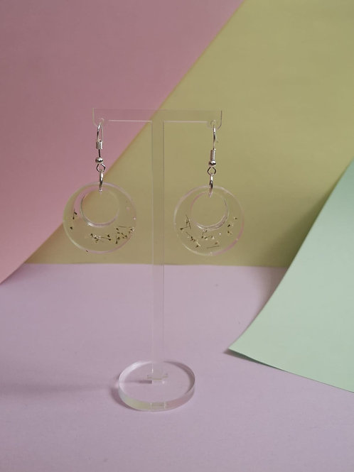 Clear hoop earrings with Queen Anne's lace