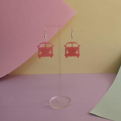 Pink Camper Van Dangle Earrings