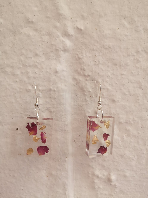 Rose petal and gold leaf oblong earrings