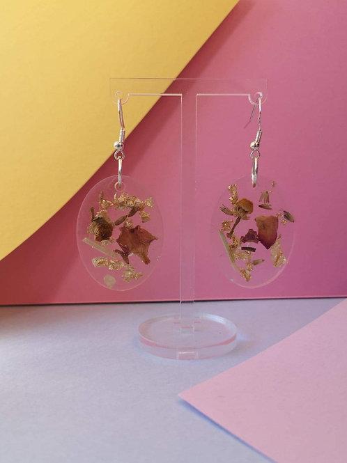 Rose petal, lemongrass, lavender and gold leaf oval earrings