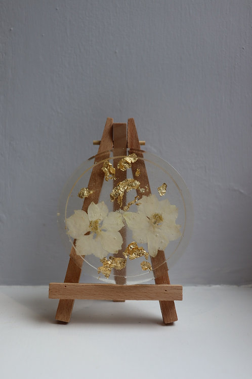 White Flower and Gold Leaf Round Trinket Dish
