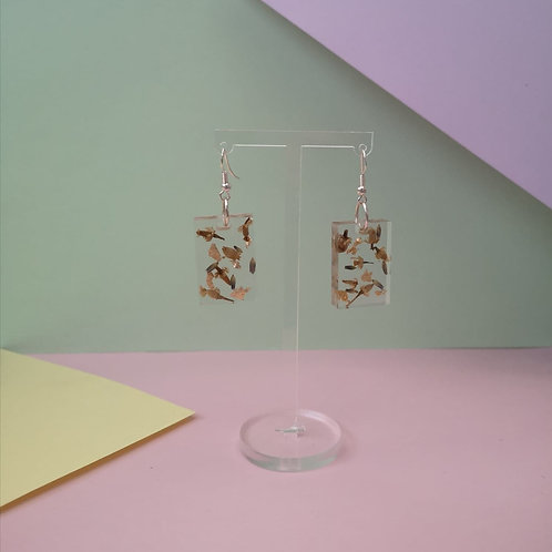 Chamomile and gold leaf earrings