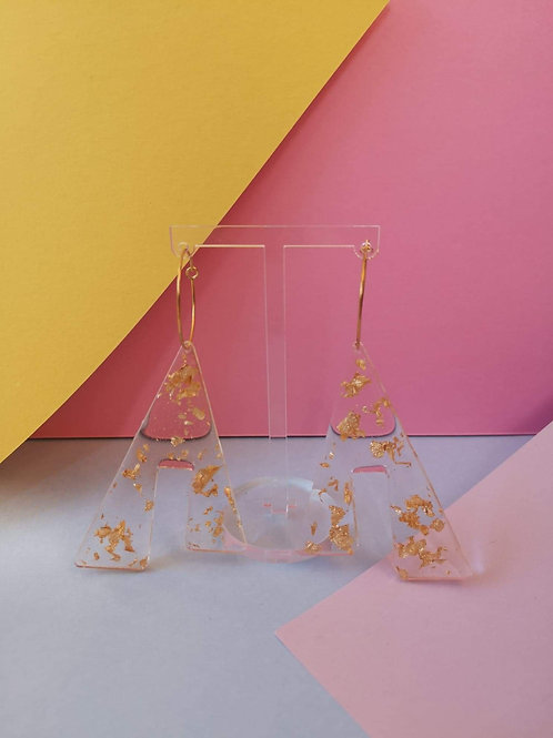 Abstract shape gold leaf hoop earrings
