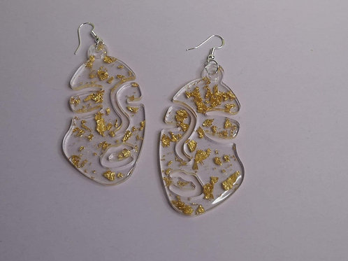 Large Abstract Face Earrings with Gold Leaf