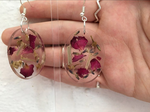 Rose petal, chamomile, lemongrass and lavender oval earrings.