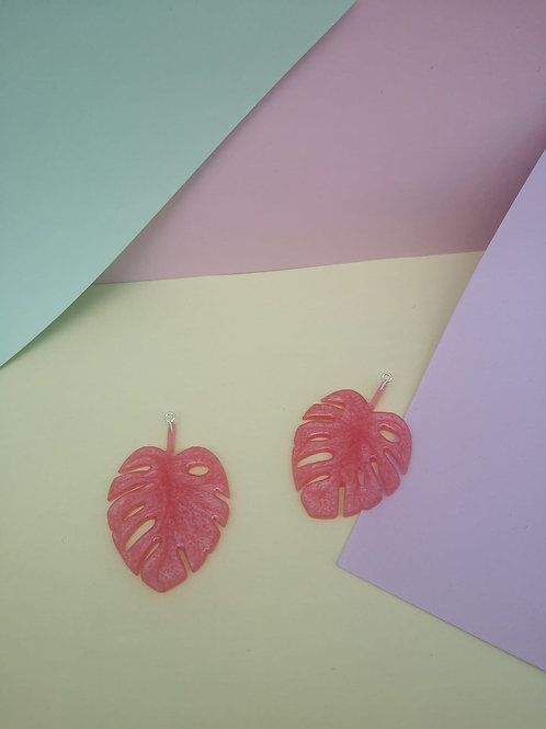 Shimmery Pink Monstera Dangles
