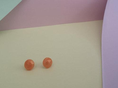 Burnt Orange Circle Stud Earrings
