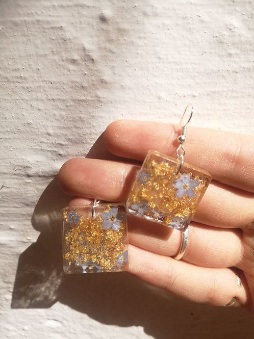 Forget-me-not and gold leaf earrings