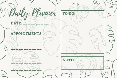 Monstera Daily Planner Digital Download