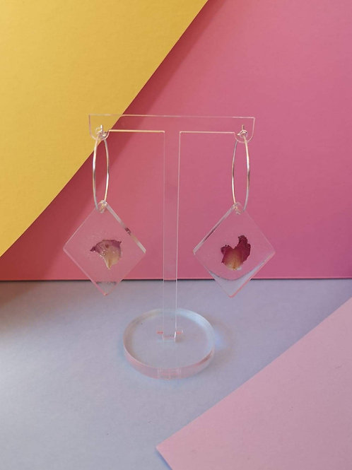 Rose petal diamond shape hoop earrings