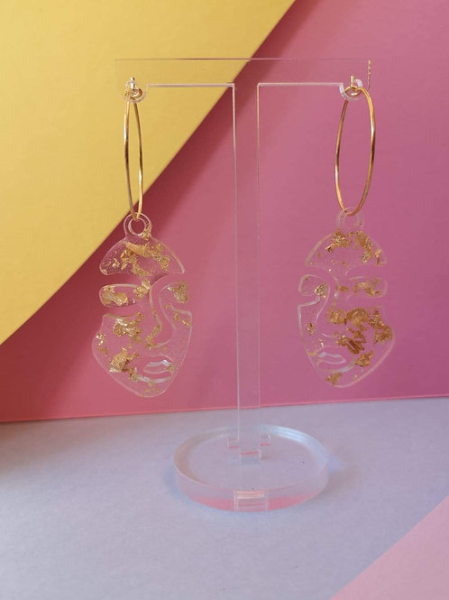 Small Abstract Face Earrings with Gold Leaf