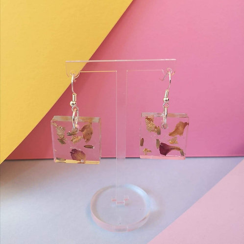 Square Floral and Gold Leaf Earrings