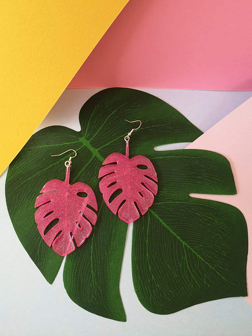 Neon Pink Glitter Monstera Dangles