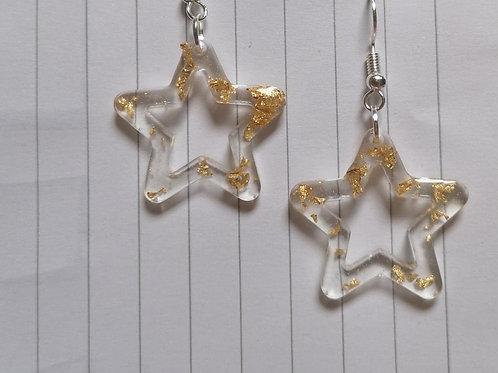 Gold Leaf Star Outline Dangle Earrings