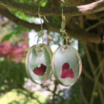 Heart shape rose petal dangle earrings