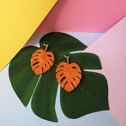 Burnt Orange Monstera Dangles
