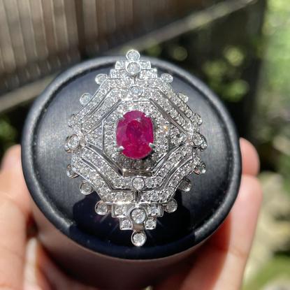 GIA certified 2.45Ct Burmese Unheated Ruby Ring