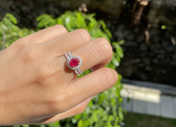 0.97Ct Unheated Burmese Ruby , 0.51Ct Natural Diamonds ring in 18k gold