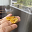 Thumbnail: Type A Natural Yellow Jadeite carved Jade with Hook in 18k gold