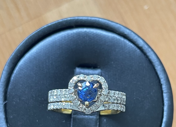 UnheatedBlue Sapphire and Natural Diamond in two way ring