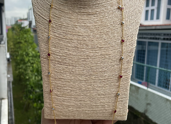 16pcs Unheated Burmese Rubies and Natural diamonds yard necklace in 18k gold