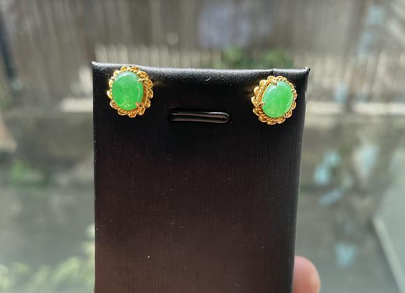 Type Jadeite Jade Earring in 21k solid gold